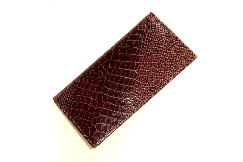 External view of suit wallet in crocodile burgundy brown printed leather