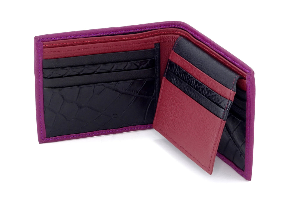 Martin  Purple leather men's hip wallet with chilli showing inside pocket layout