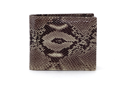 Martin  Grey snake print leather men's wallet brown leather lining front view