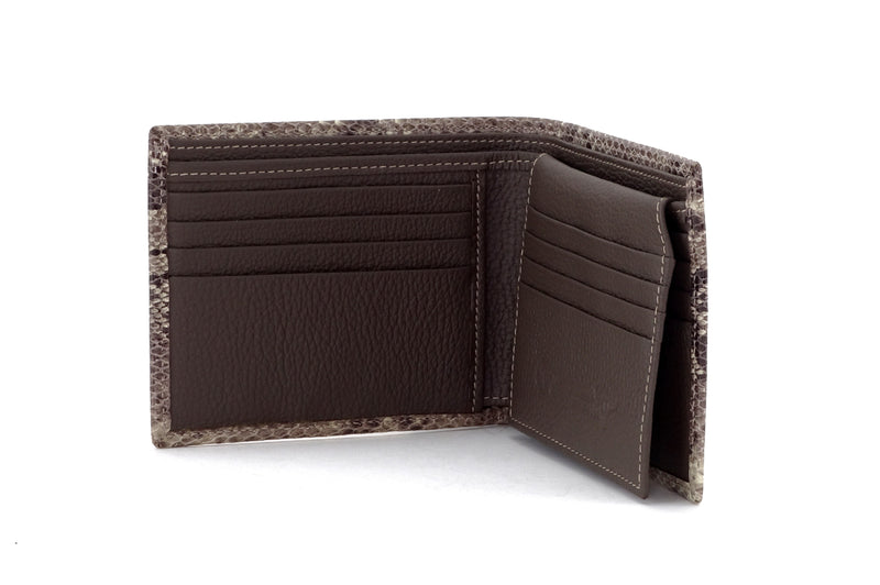 Martin  Grey snake print leather men's wallet brown leather lining inside layout view