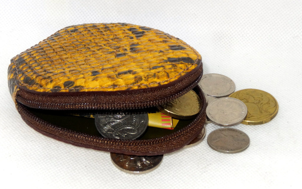 Coin Purse - Snappy leather with zip yellow snake print