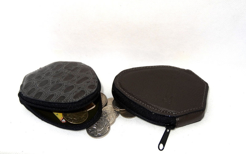Coin Purse - Snappy leather with zip grey textured print one side grey leather the other