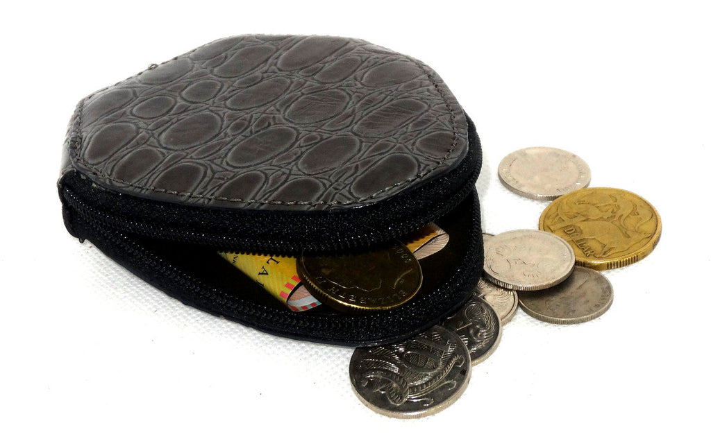 Coin Purse - Snappy leather with zip grey print