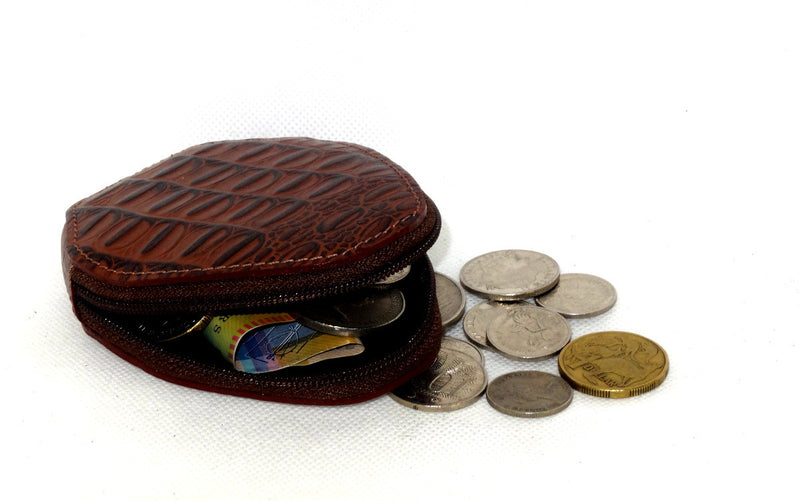 Coin Purse - Snappy leather with zip brown crocodile print