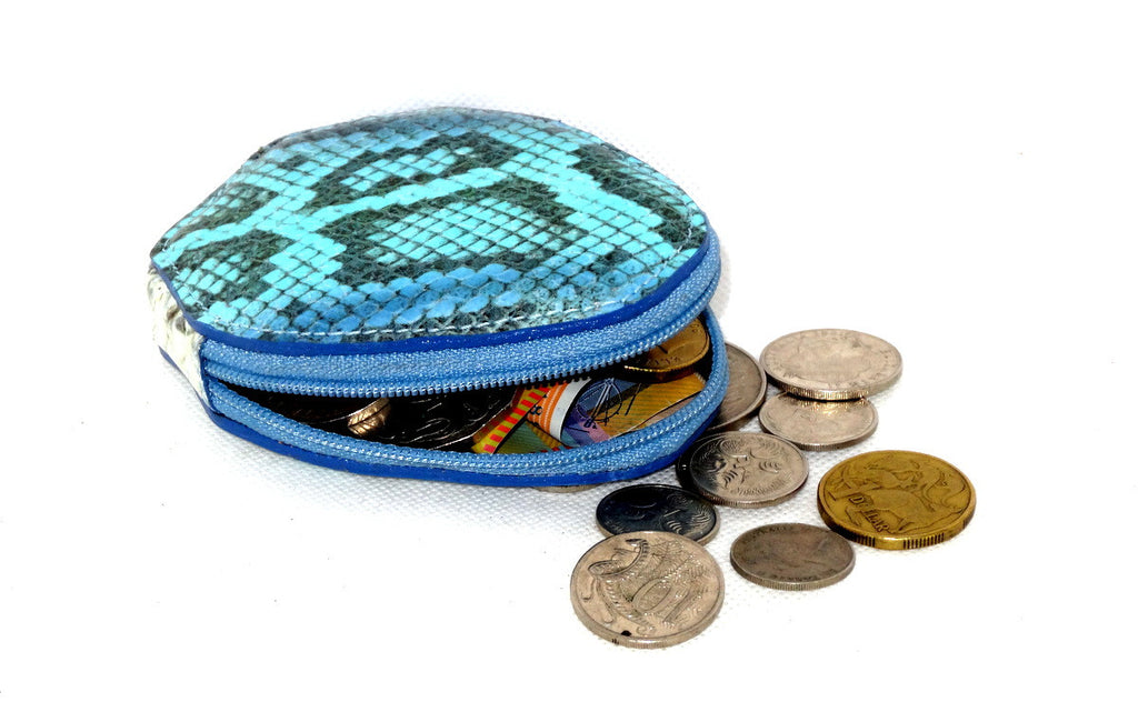 Coin Purse - Snappy leather with zip blue snake print