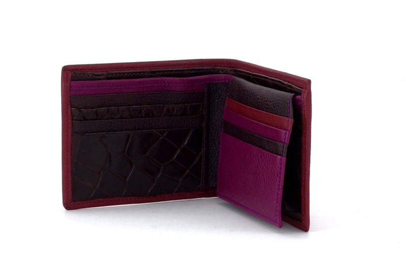 Martin  Chilli leather wallet with brown and purple showing inside pocket layout