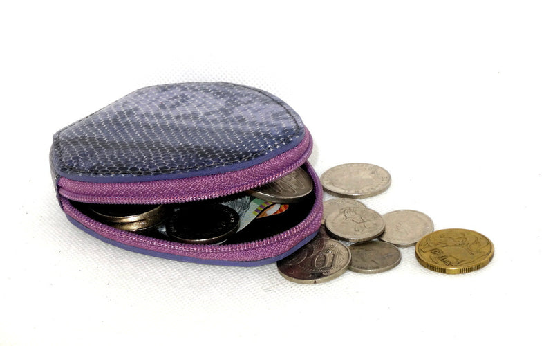 Coin Purse - Snappy leather with zip purple snake print
