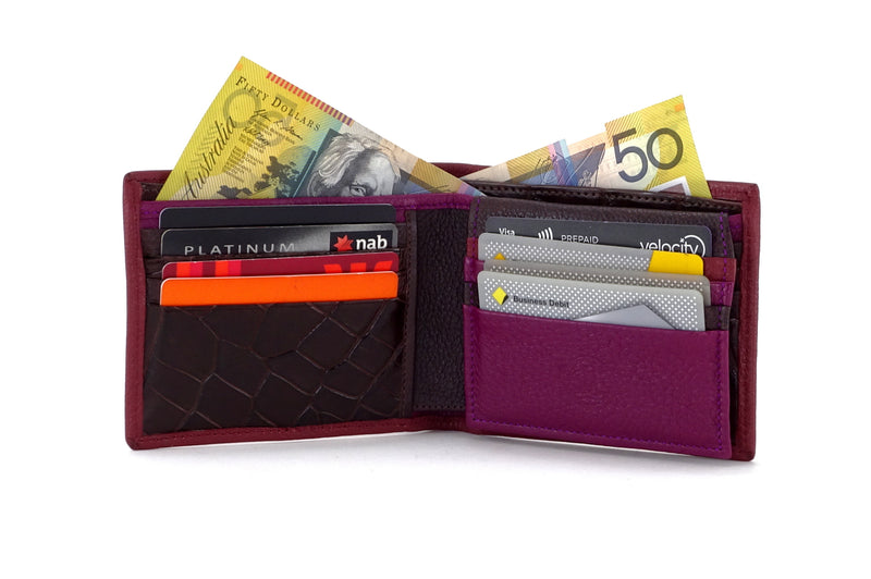 Martin  Chilli leather wallet with brown and purple showing inside in use