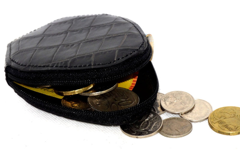 Coin Purse - Snappy leather with zip black crocodile print