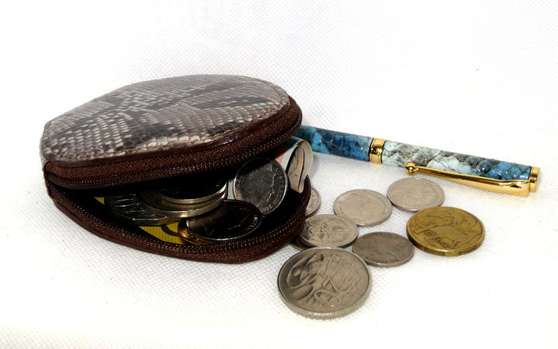 Coin Purse - Snappy leather with zip grey snake print