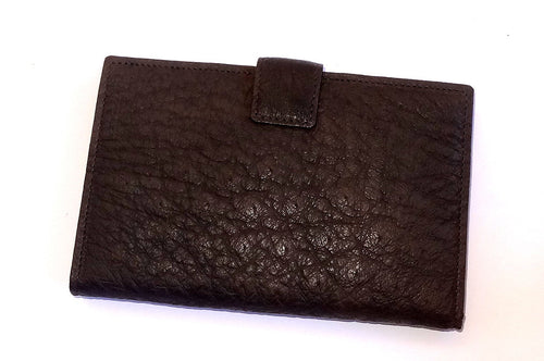 Julie Large ladies clutch purse brown ostrich skin front
