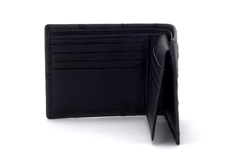 Martin  Black ostrich leather man's picture window hip wallet showing internal pocket layout