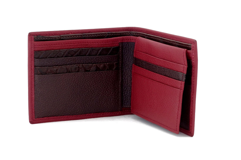 Martin  Chilli leather men's wallet with brown showing inside pocket layout