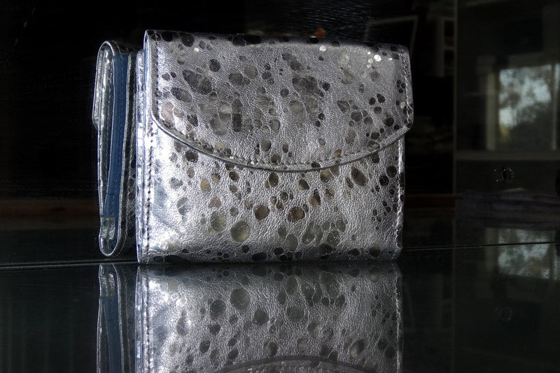 Anne  Silver sheep skin leather with blue internal ladies purse front view