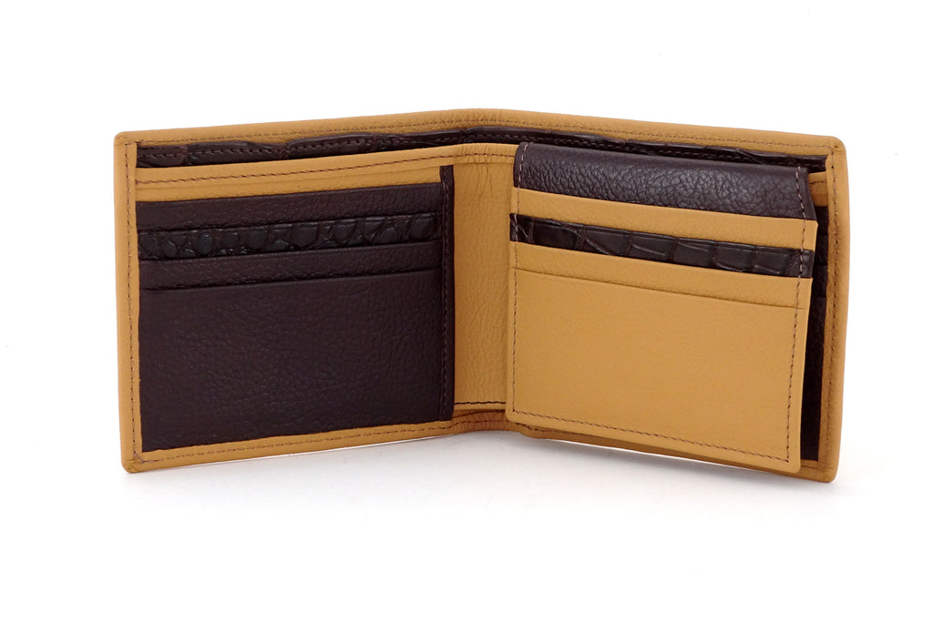 Martin  Custard leather men's wallet with brown showing inside pocket layout