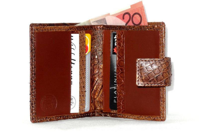 Christine  Copper snake print leather small ladies purse wallet open inside view in use