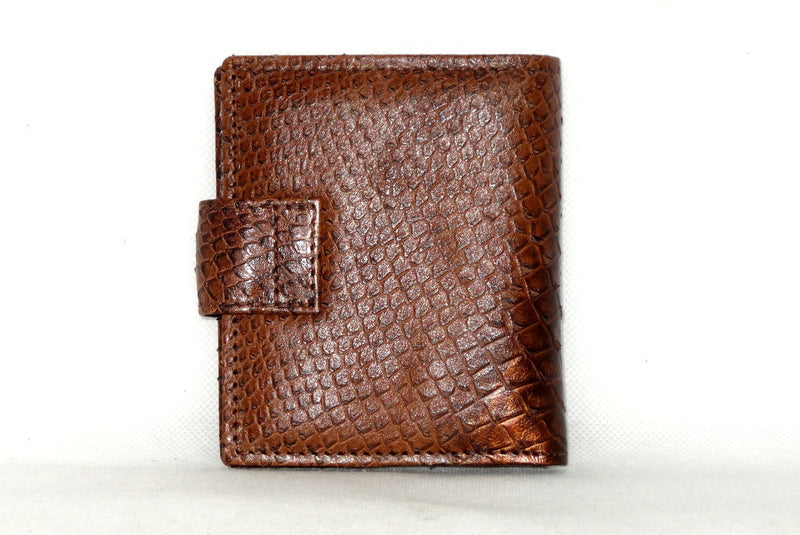 Christine  Copper snake print leather small ladies purse wallet back view