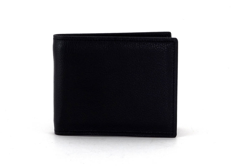 Martin  Black leather chilli lining men's wallet outside front view