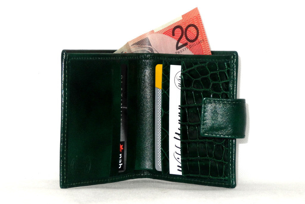 Christine  Bottle green leather small ladies purse wallet inside view showing money and credit cards is use