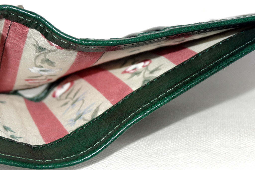 Christine  Bottle green leather small ladies purse wallet showing note pocket