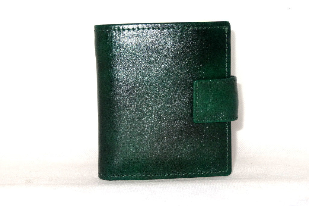 Christine  Bottle green leather small ladies purse wallet front view tab closure