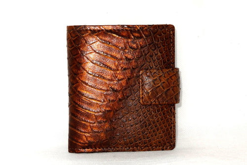 Christine  Copper snake print leather small ladies purse wallet front view tab closure