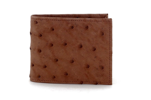 Martin  Taupe Ostrich leather men's large bifold hip coin wallet showing front outside view