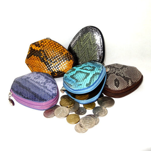 Coin Purse - Snappy leather with zip group photo showing coins