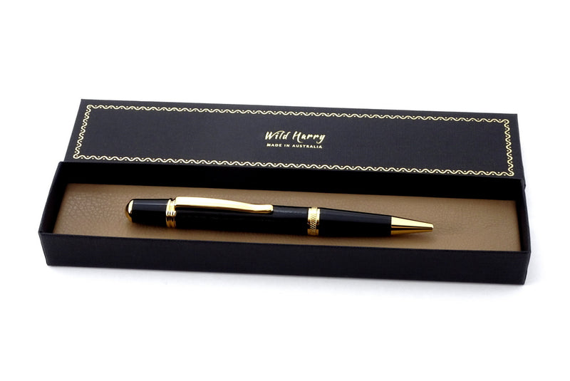 Pen Sierra round top 24K gold & chrome black leather single barrel in a box