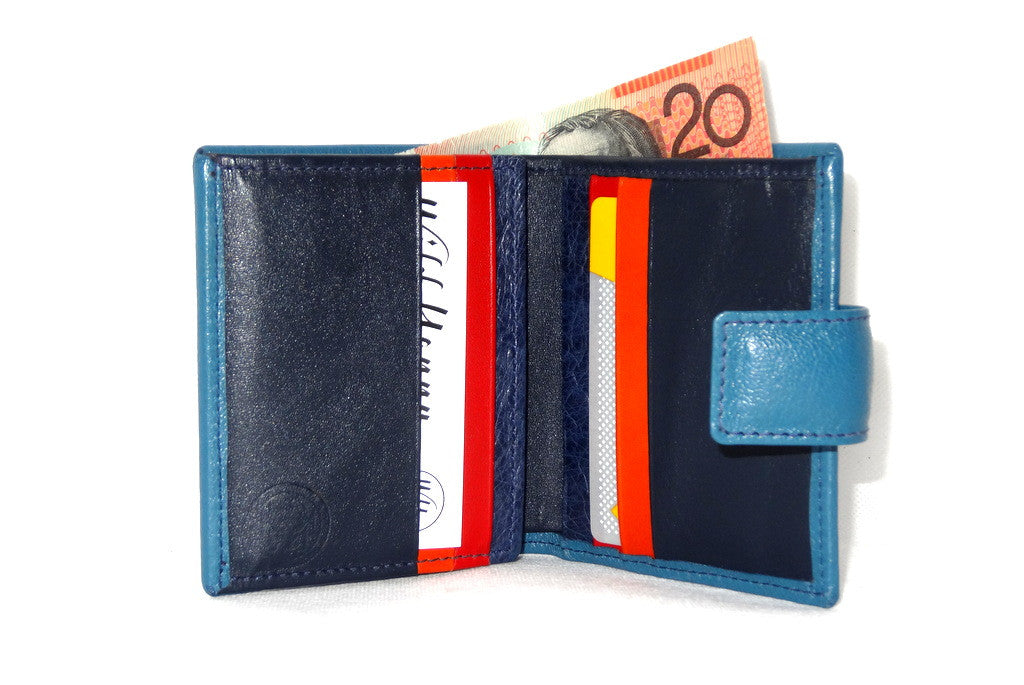 Christine  Blue goat leather small ladies purse wallet showing inside in use
