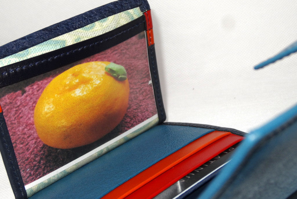 Christine  Blue goat leather small ladies purse wallet showing picture window