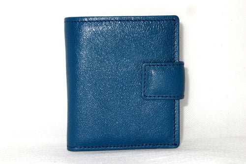 Christine  Blue goat leather small ladies purse wallet front tab