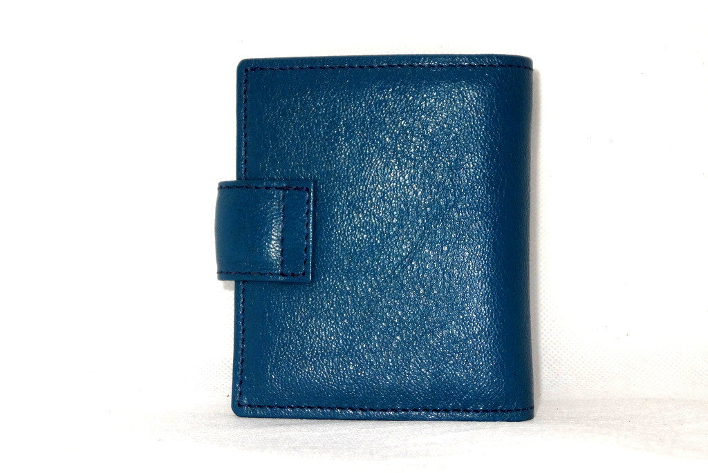 Christine  Blue goat leather small ladies purse wallet back view