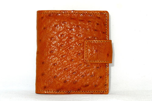 Christine  Tan ostrich chick skin small ladies purse wallet front tab closure