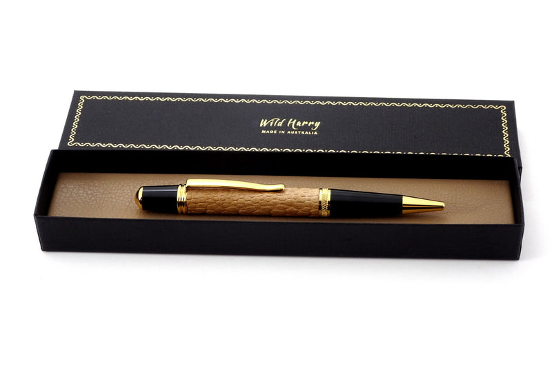 Pen Sierra round top 24K gold & chrome tan ostrich leg single barrel in presantation box