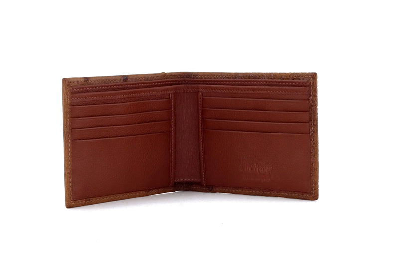 Martin  Brown ostrich skin leather man's large hip wallet inside view