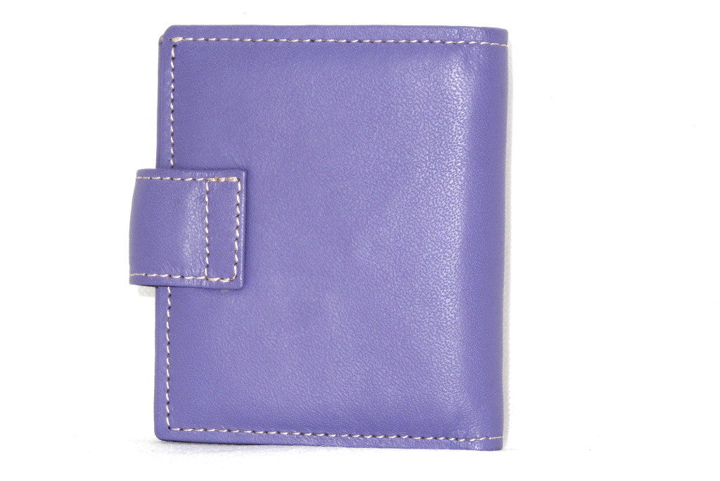 Christine  Lilac leather small ladies purse wallet back view