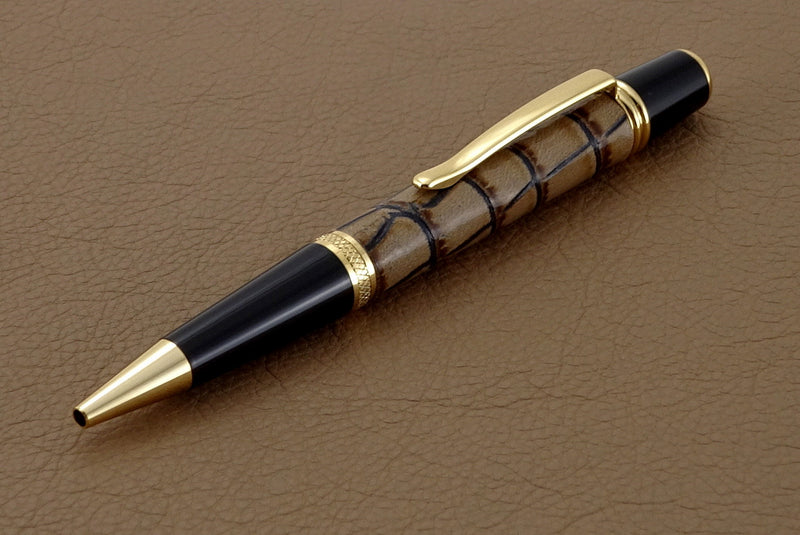 Pen Sierra round top 24K gold & chrome cream printed leather single barrel