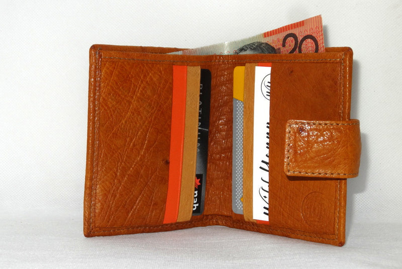 Daniel  Tan ostrich with denim fabric internal small men's wallet inside view