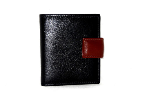 Daniel  Black leather with ox blood leather tab men's wallet front