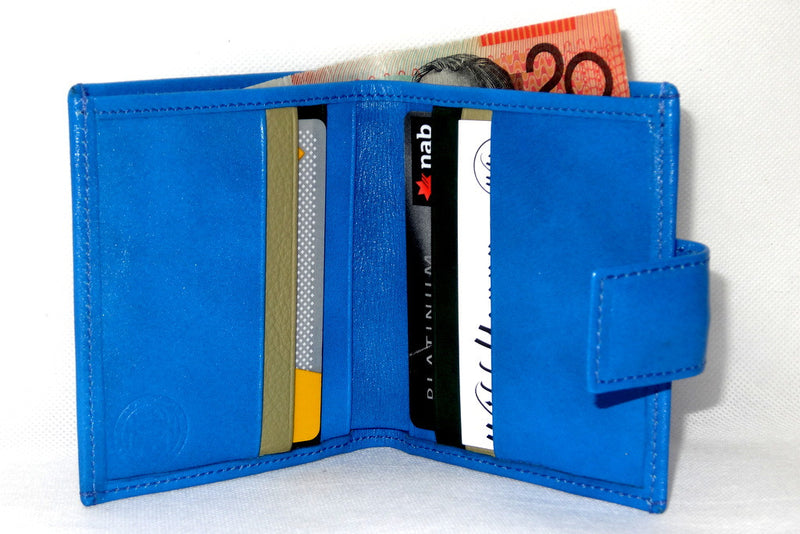Daniel  Blue smooth leather small men's wallet inside view