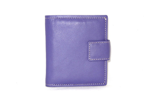 Christine  Lilac leather small ladies purse wallet front view tab closure