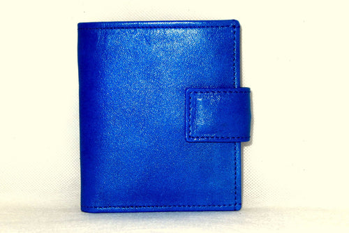 Daniel  Blue smooth leather small men's wallet front view