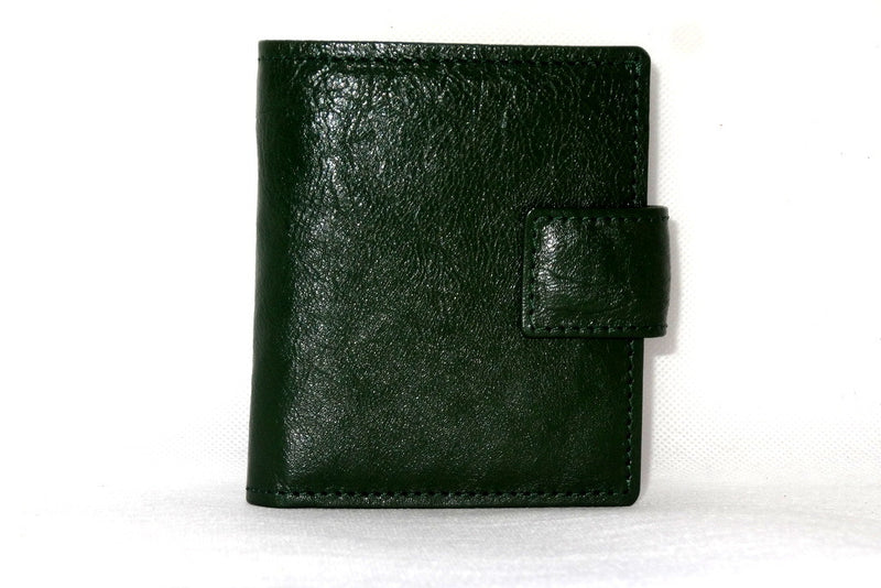 Daniel  Bottle green textured leather small men's wallet front view