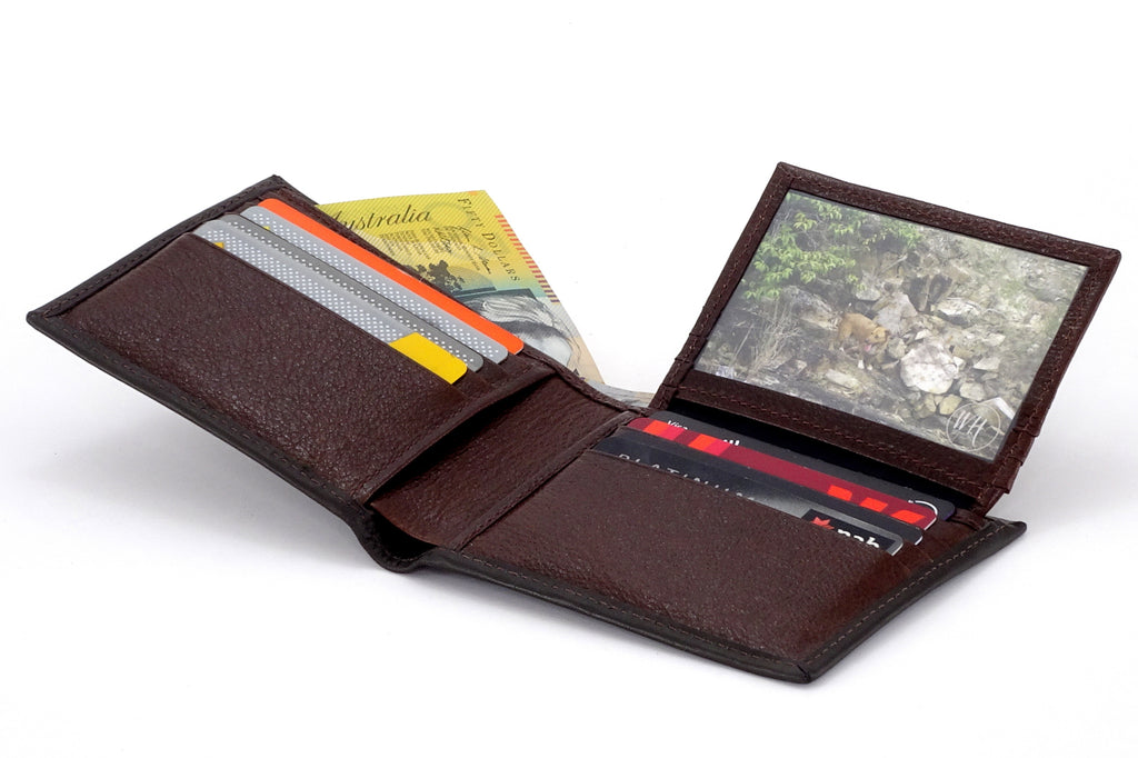 Martin  Dark brown calft skin leather man's bi fold hip wallet showing picutre window flap