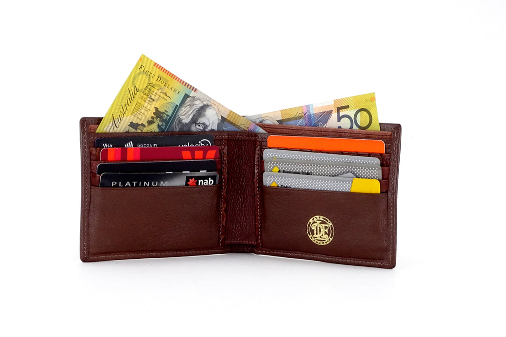 Martin  Brown leather men's wallet inside pockets in use