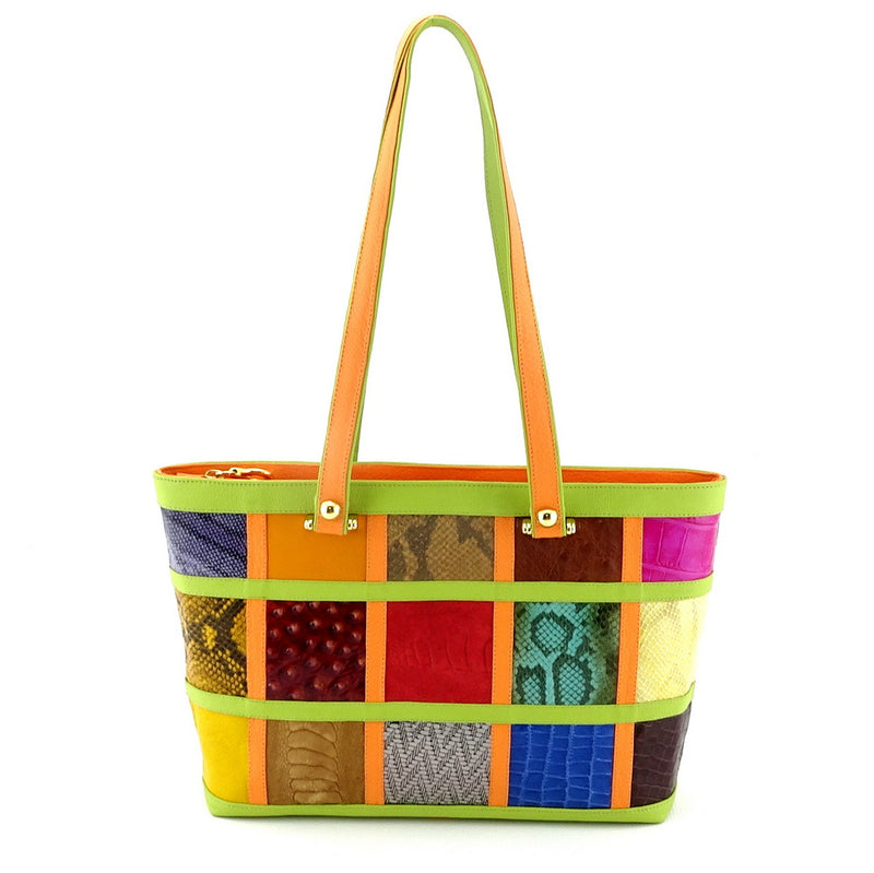 Emily  Medium leather tote bag patch work with lime & orange