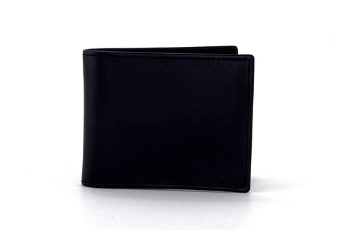 Martin  Black smooth leather man's large bifold hip wallet outside front view