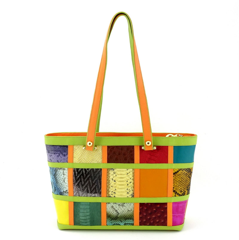 Emily  Medium leather tote bag patch work with lime & orange shoulder straps up