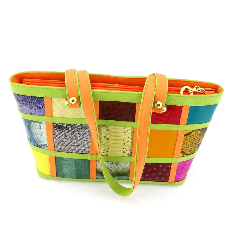 Emily  Medium leather tote bag patch work with lime & orange top view